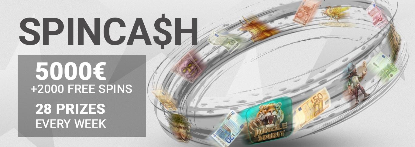 SPINCASH – 5000 EUR cash + 2000 Free Spins give away!
